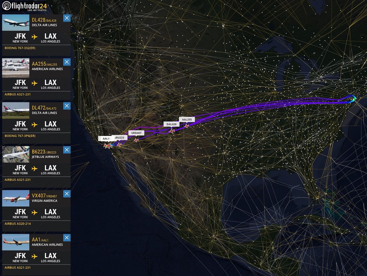 Flights Follow Airways And Pass Over Waypoints En Route To From New York To Los Angeles Generally Following A Great Circle Route