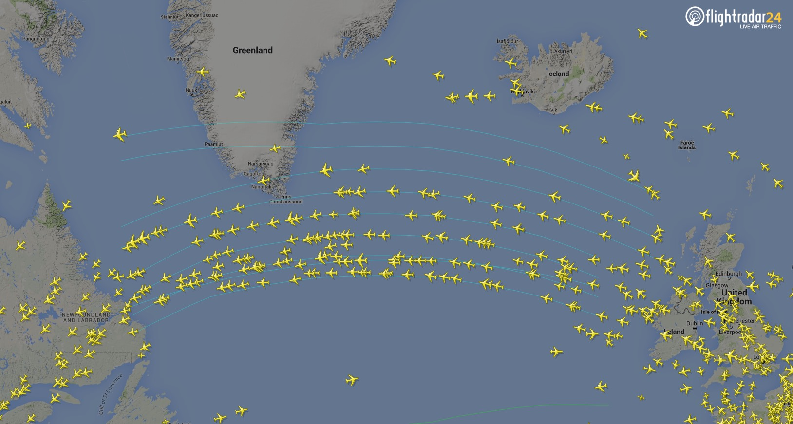 Flights traveling along the North Atlantic Tracks