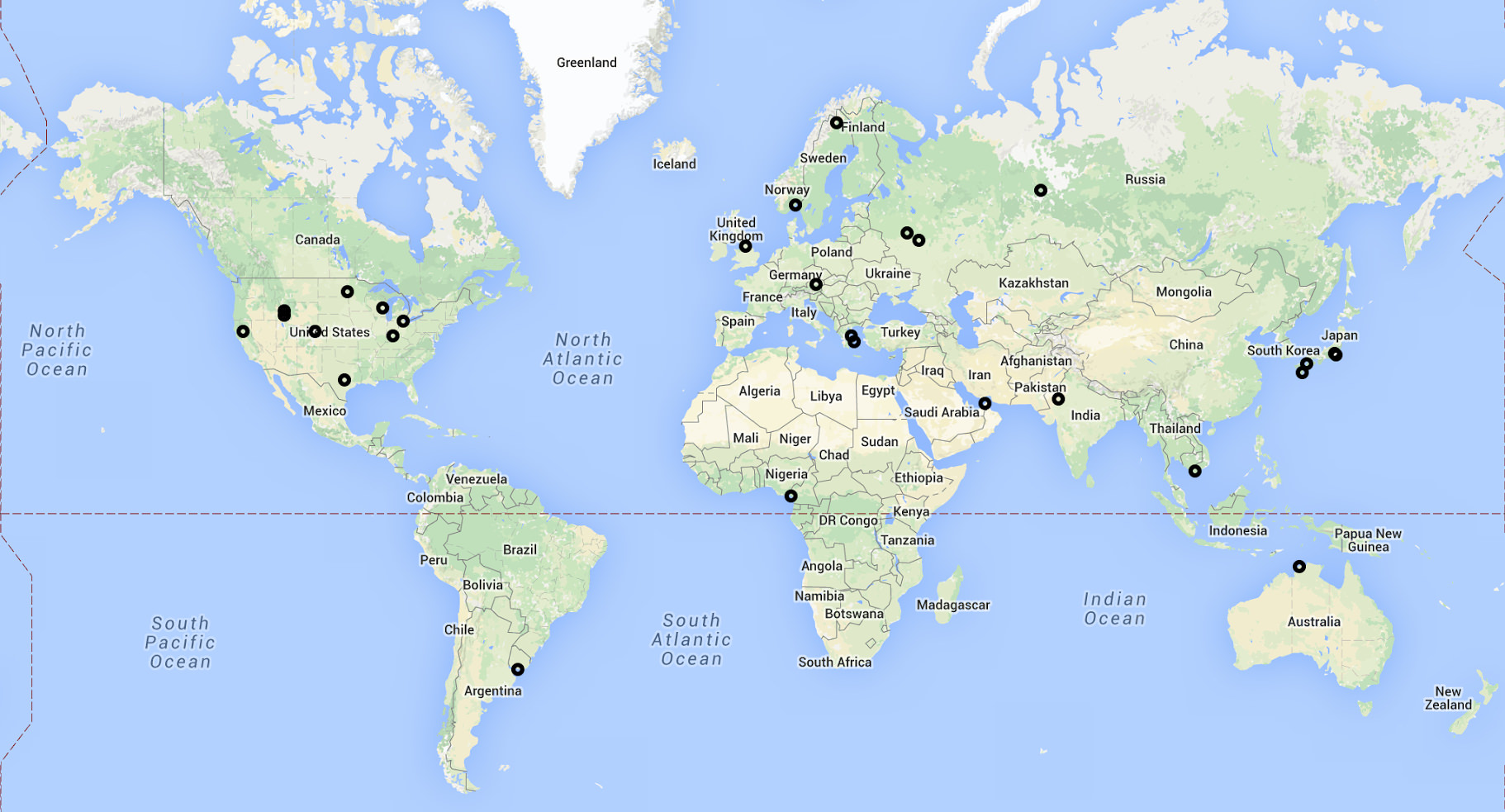 Map of New Receivers
