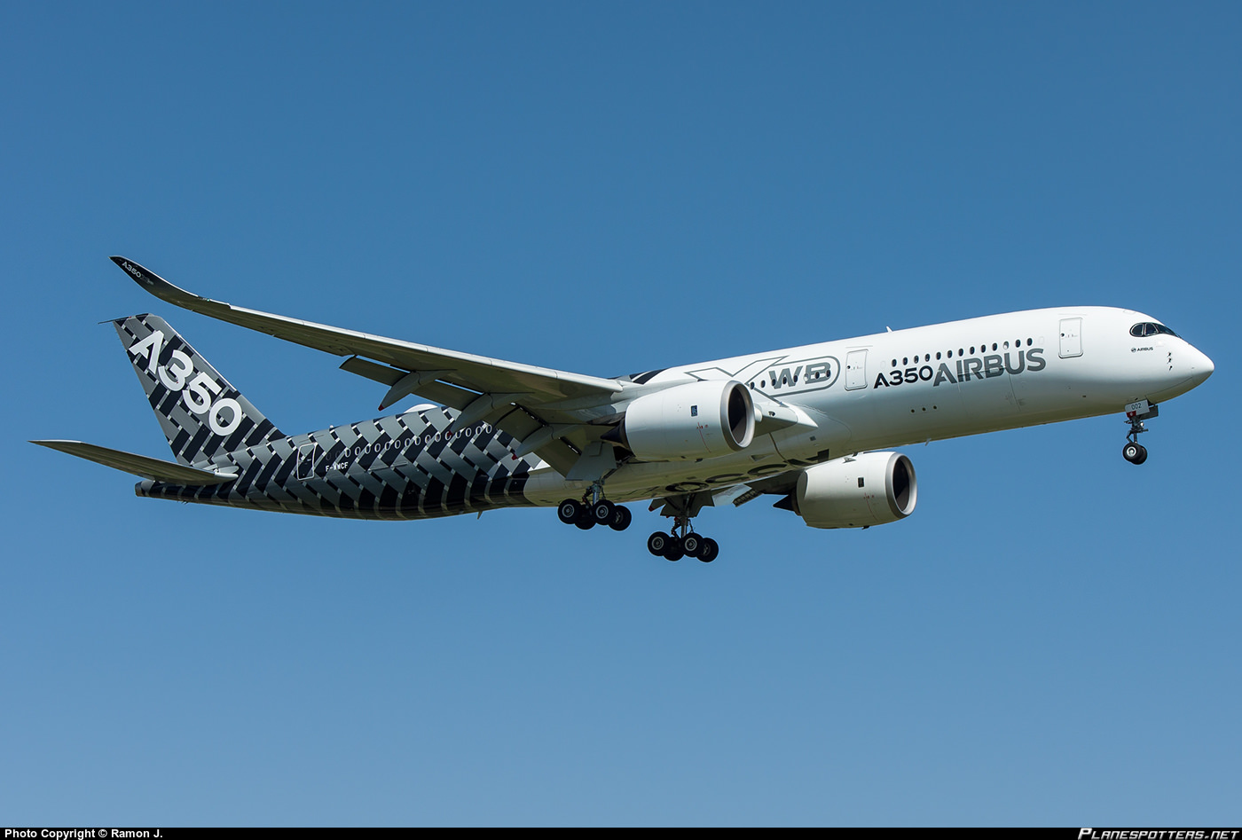 Airbus A350XWB, F-WWCF, MSN 002 is currently touring the Americas and will make a special appearance in Oshkosh this year.