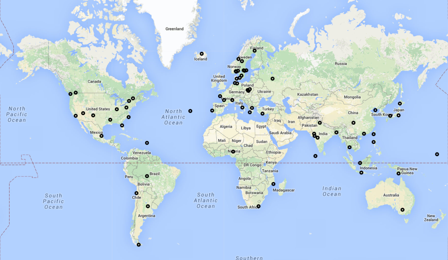 Map of new Flightradar24 receivers activated during the first two weeks of September.
