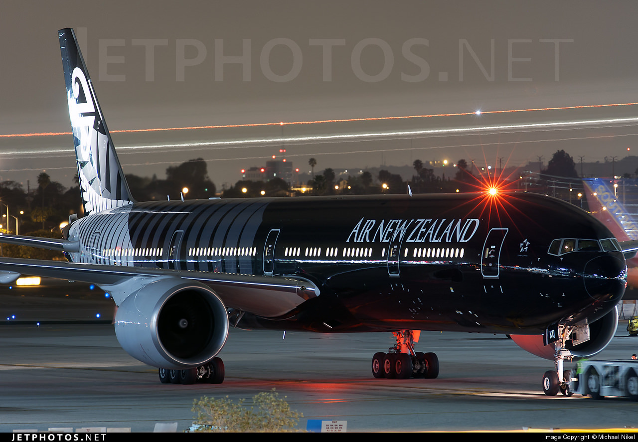 "Air New Zealand's 777-300ER in ""All Blacks"" Livery."