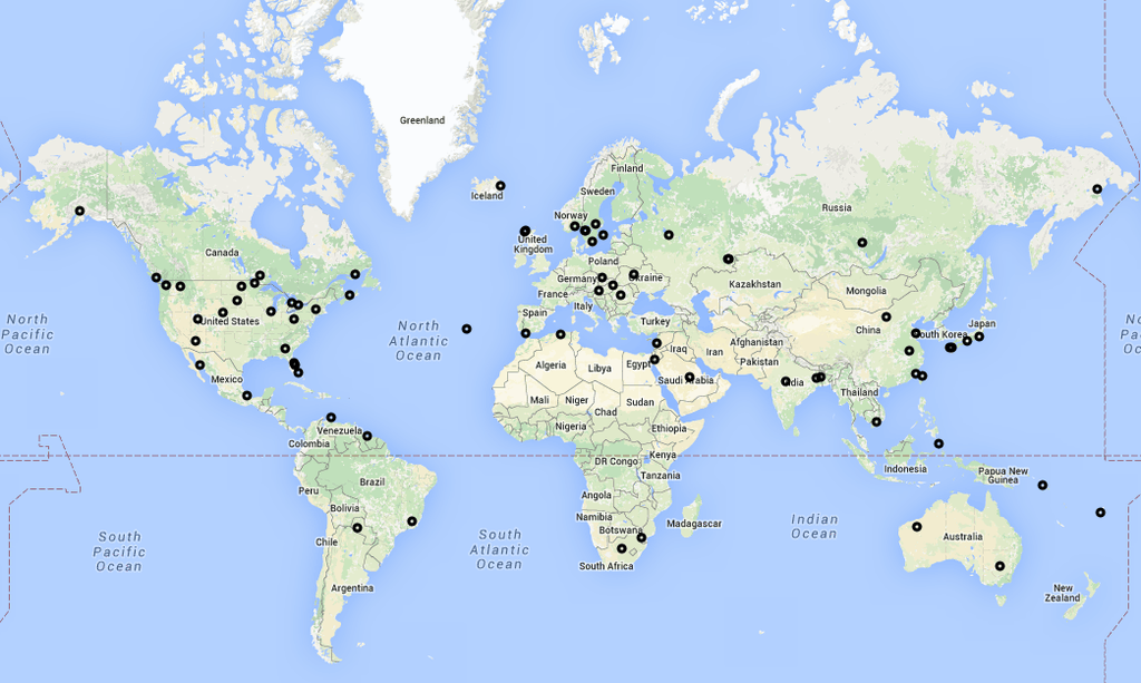 Flightradar24 ADS-B receivers activated during the first two weeks of December.