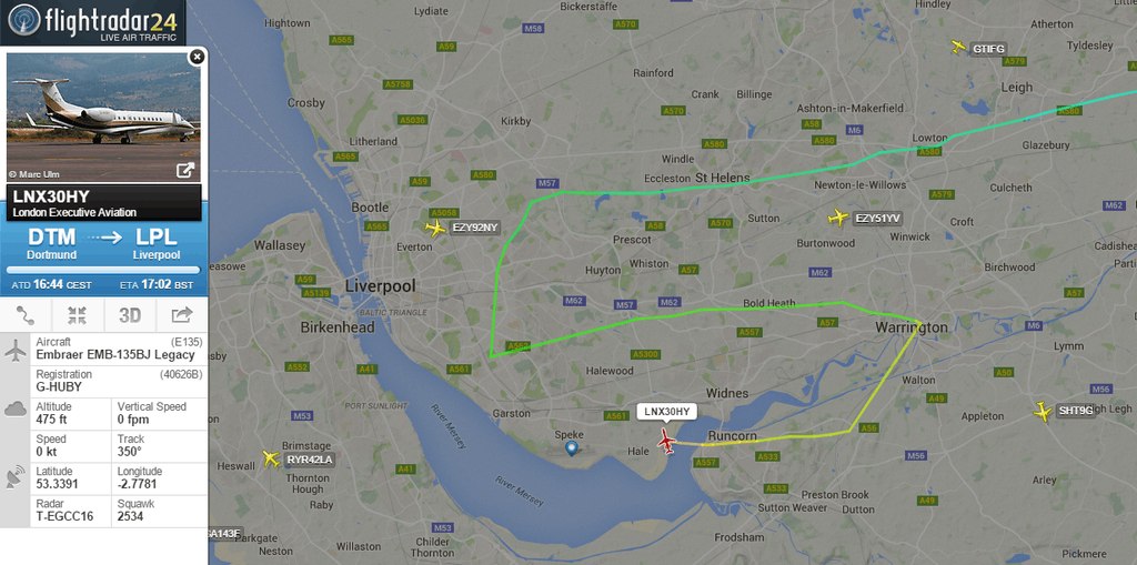 Over 35,000 people were following Jürgen Klopp's Flight to Liverpool.