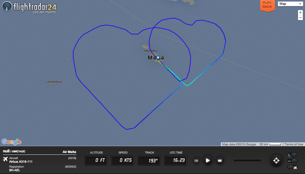 To celebrate the marriage of two employees an Air Malta flight drew two hearts.