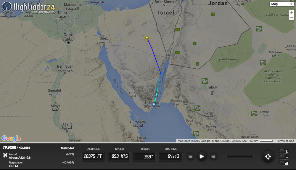 Metrojet Flight 9268 crashed in Egypt's Sinai Peninsula after a bomb exploded on board.
