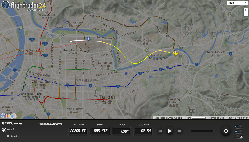 TransAsia Flight 235 crashed shortly after takeoff from Taipei.