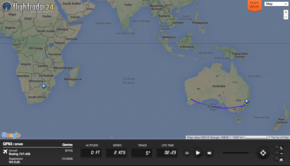 QF63 first flew to Perth to refuel before departing for Johannesburg.