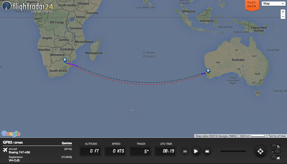 After refueling, QF63 continued on to Johannesburg.
