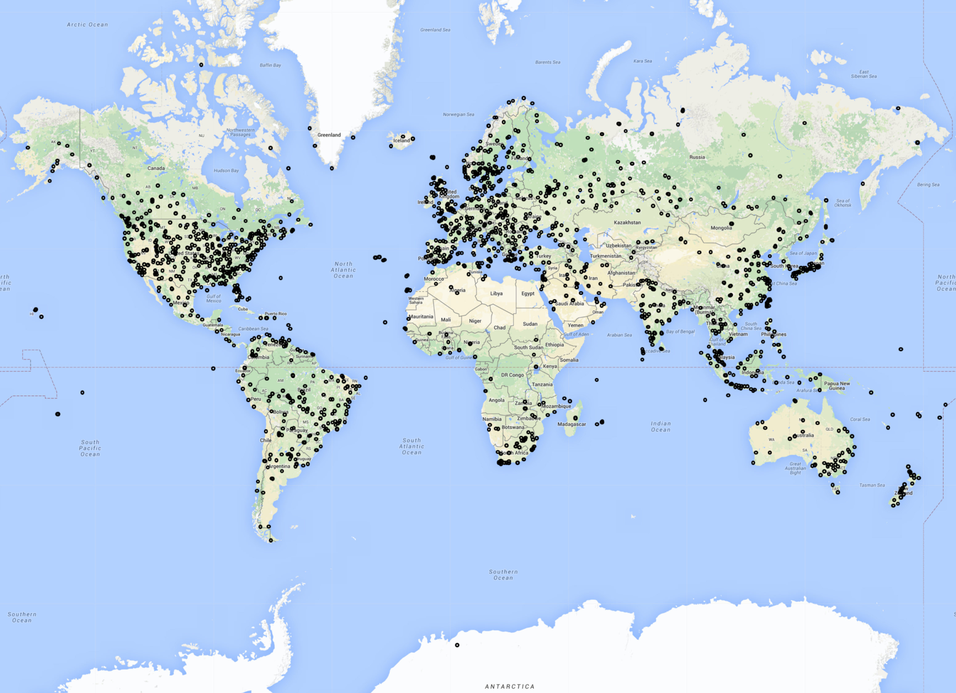 All of the new FR24 ADS-B receivers activated in 2015.