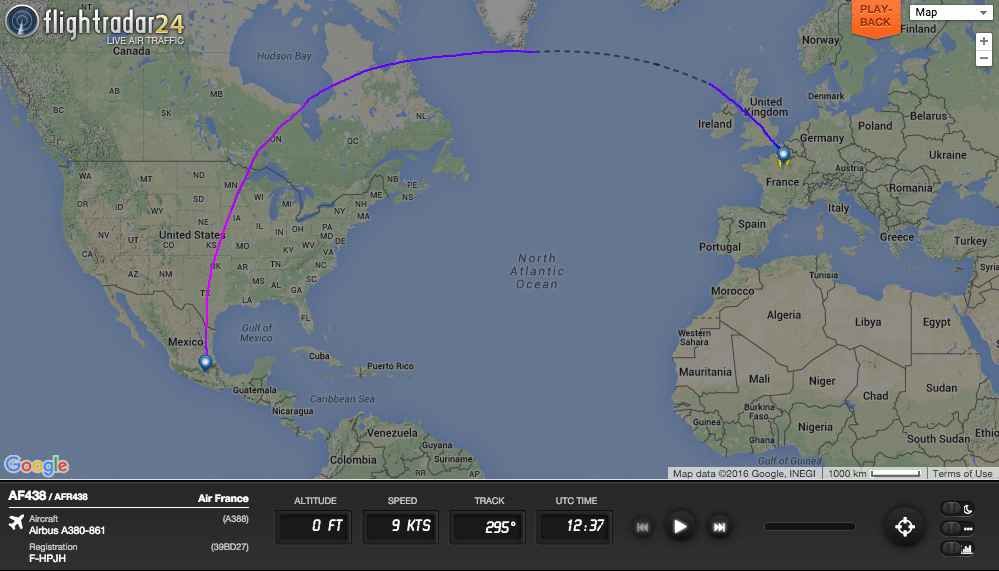 The first regularly scheduled A380 flight to Latin America, AF438