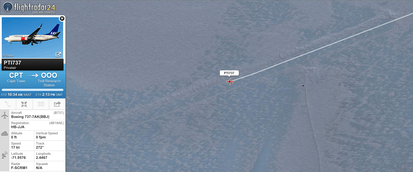 The first landing in Antarctica tracked by Flightradar24—HB-JJA landing on the Troll runway as flight PTI737.