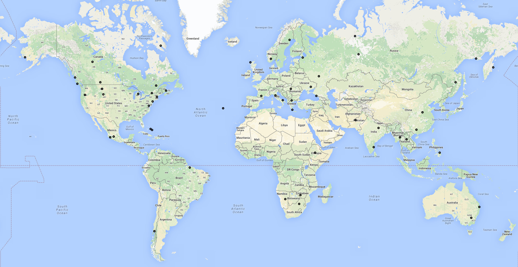 Map of New Flightradar24 receivers activated in the first two weeks of January 2016.