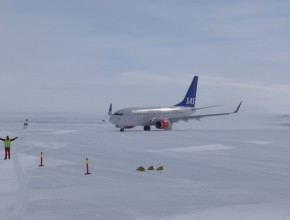 HB-JJA taxiing to its parking stand after landing at Troll Research Station in Antarctica