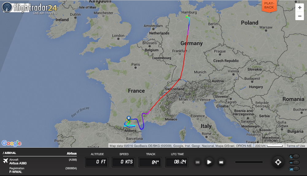 A new British Airways A380 (to be registered G-XLEL) flies from final assembly in Toulouse to Hamburg for painting