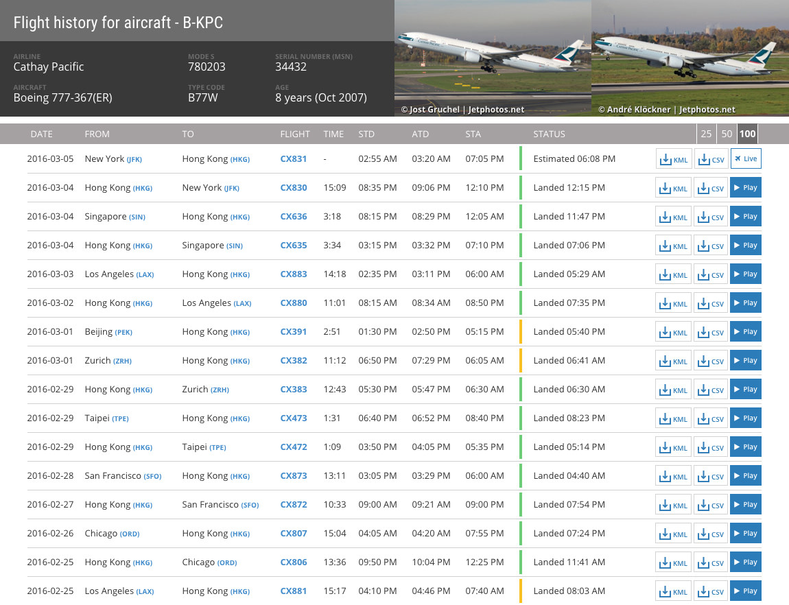 The new aircraft data page. Select playback or as a subscriber, download CSV and KML files.