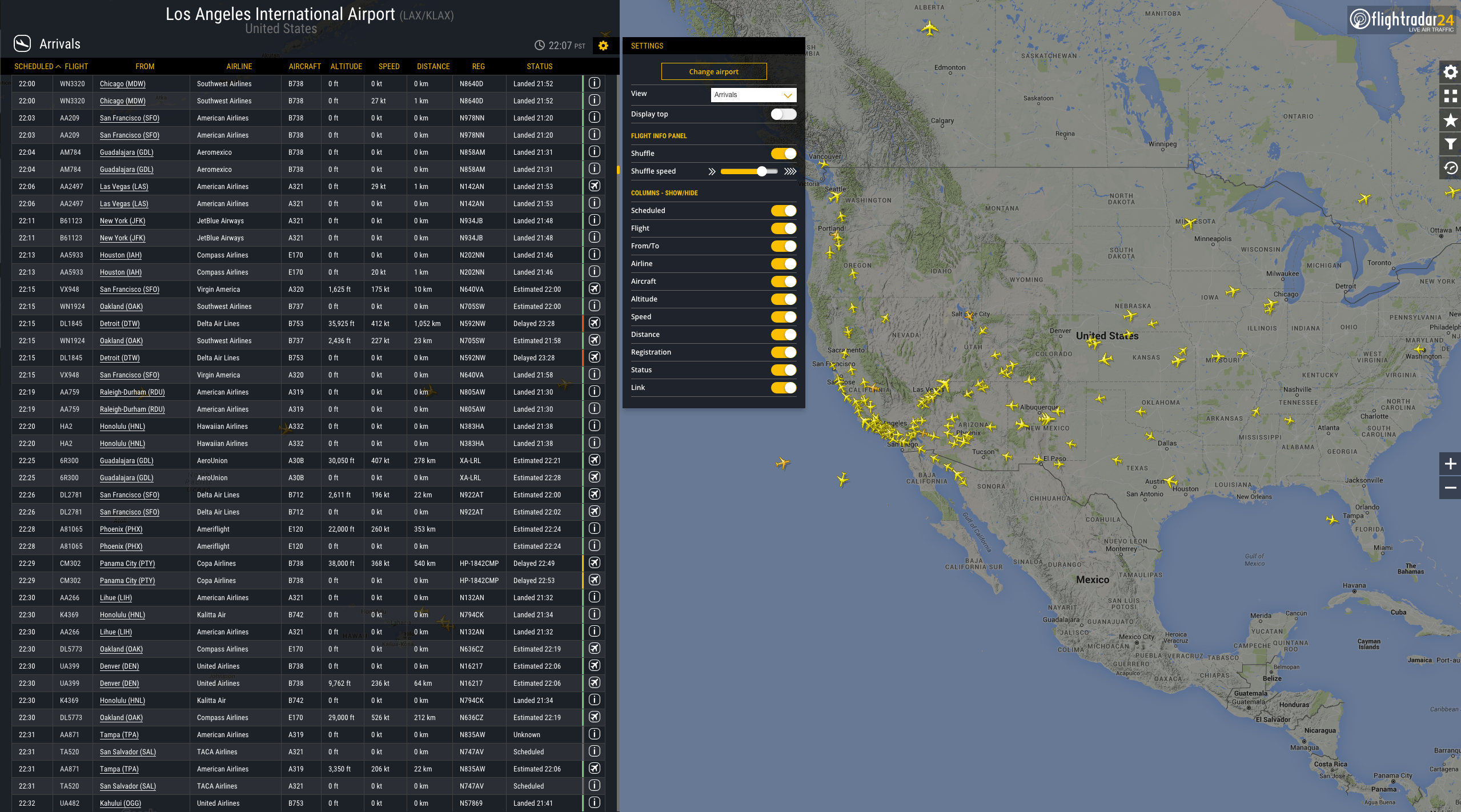 Our new Airport View showing arrivals to LAX as an example, alongside available settings. Click to expand.