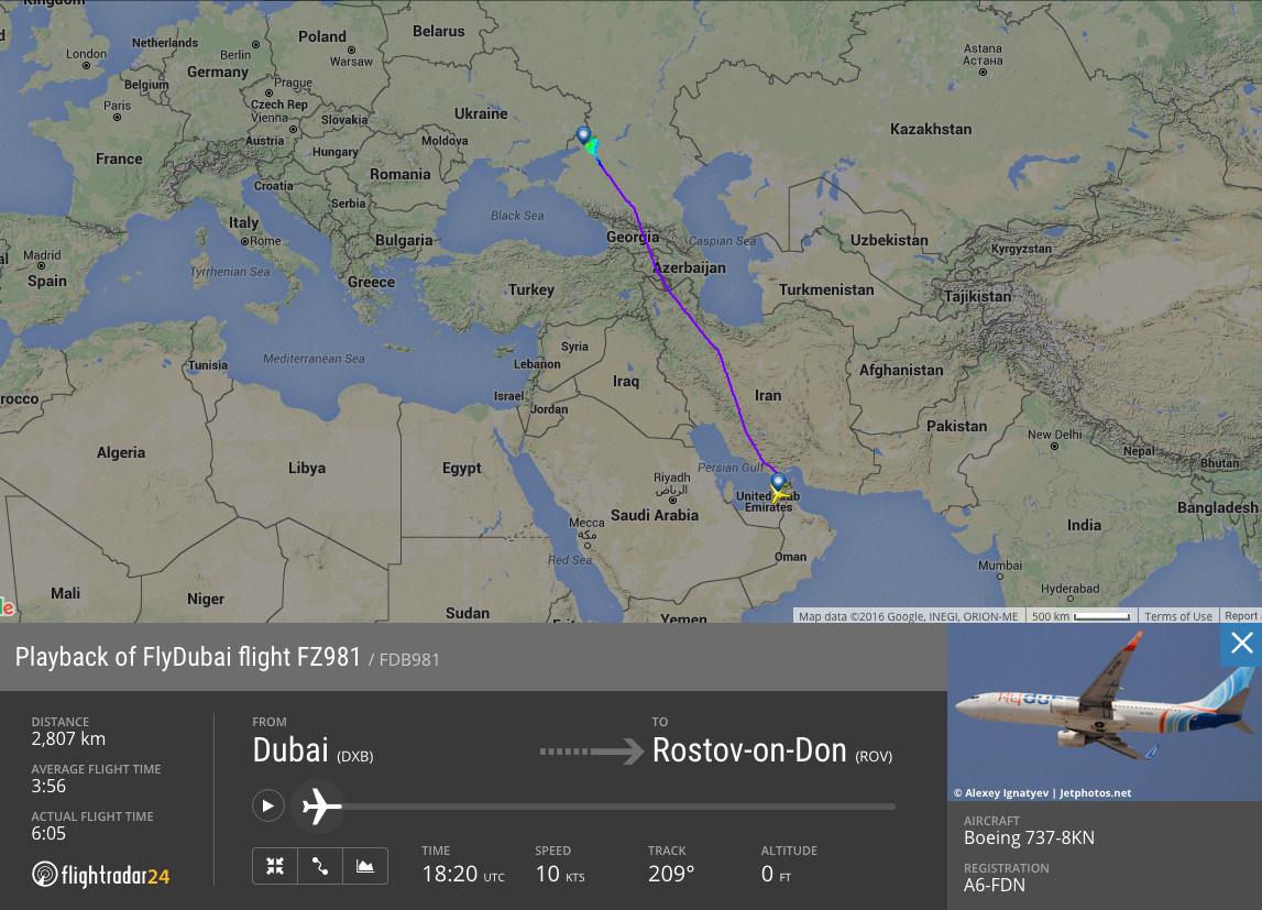 Flightradar24 Data for FlyDubai Flight 981   Flightradar24 Blog