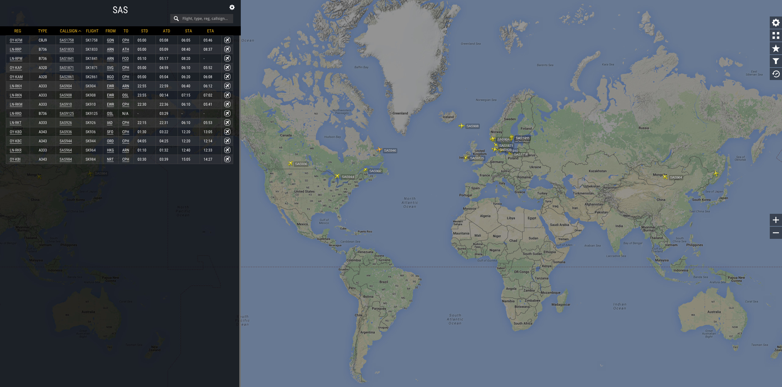 Our new fleet view showing active SAS flights.
