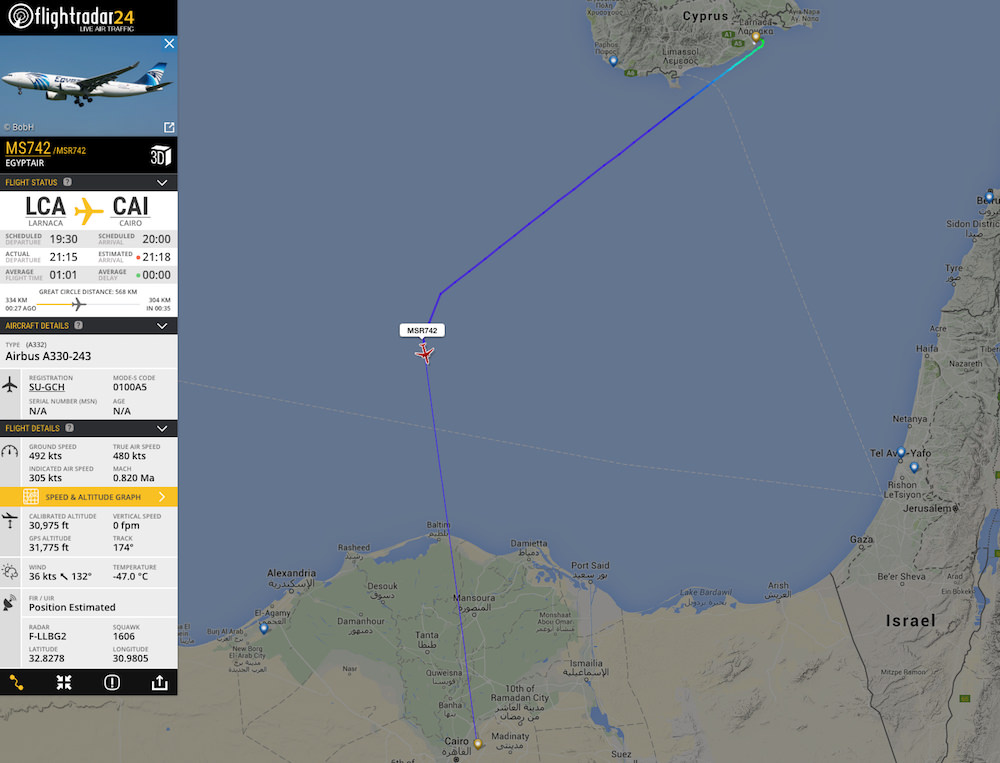 Passengers from MS181 are flown from Larnaca to Cairo.