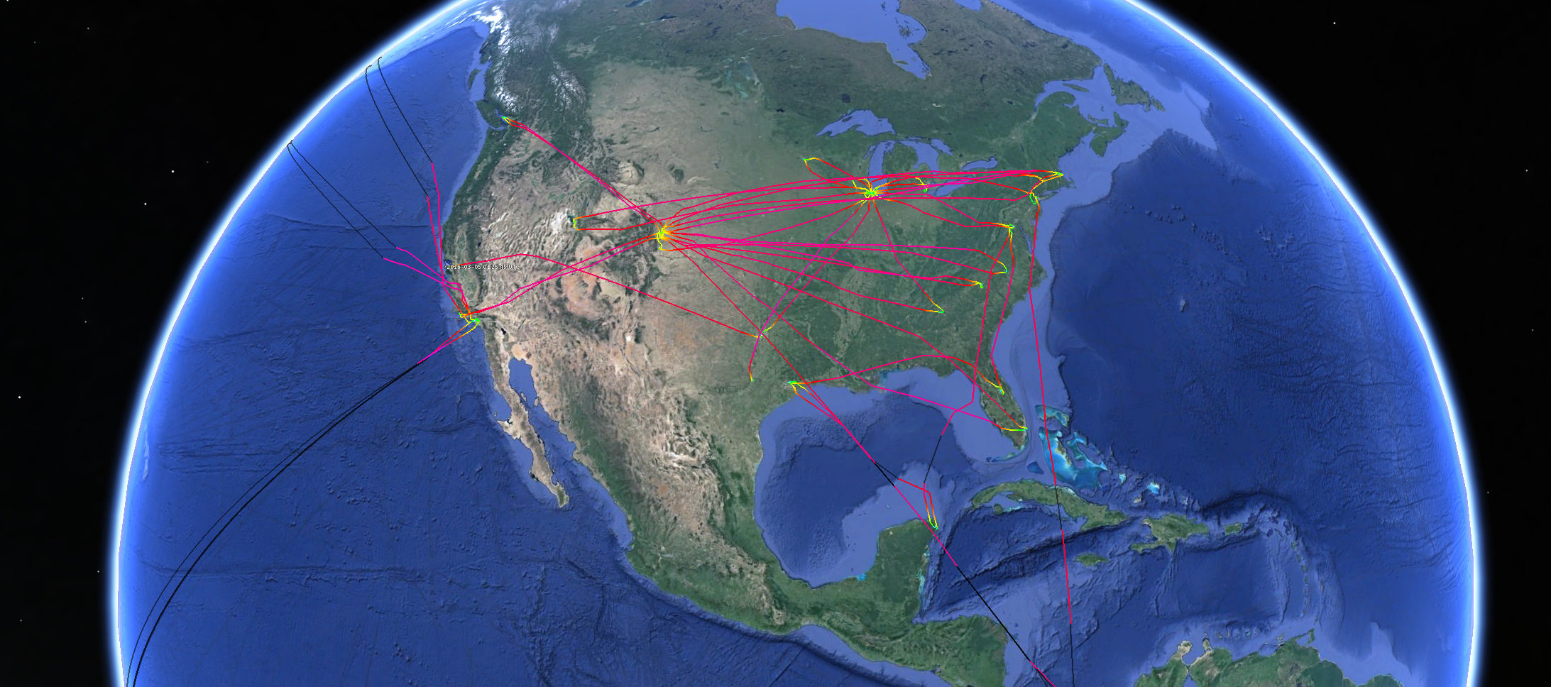 Tracing the route of 3 United Airlines aircraft over a week.