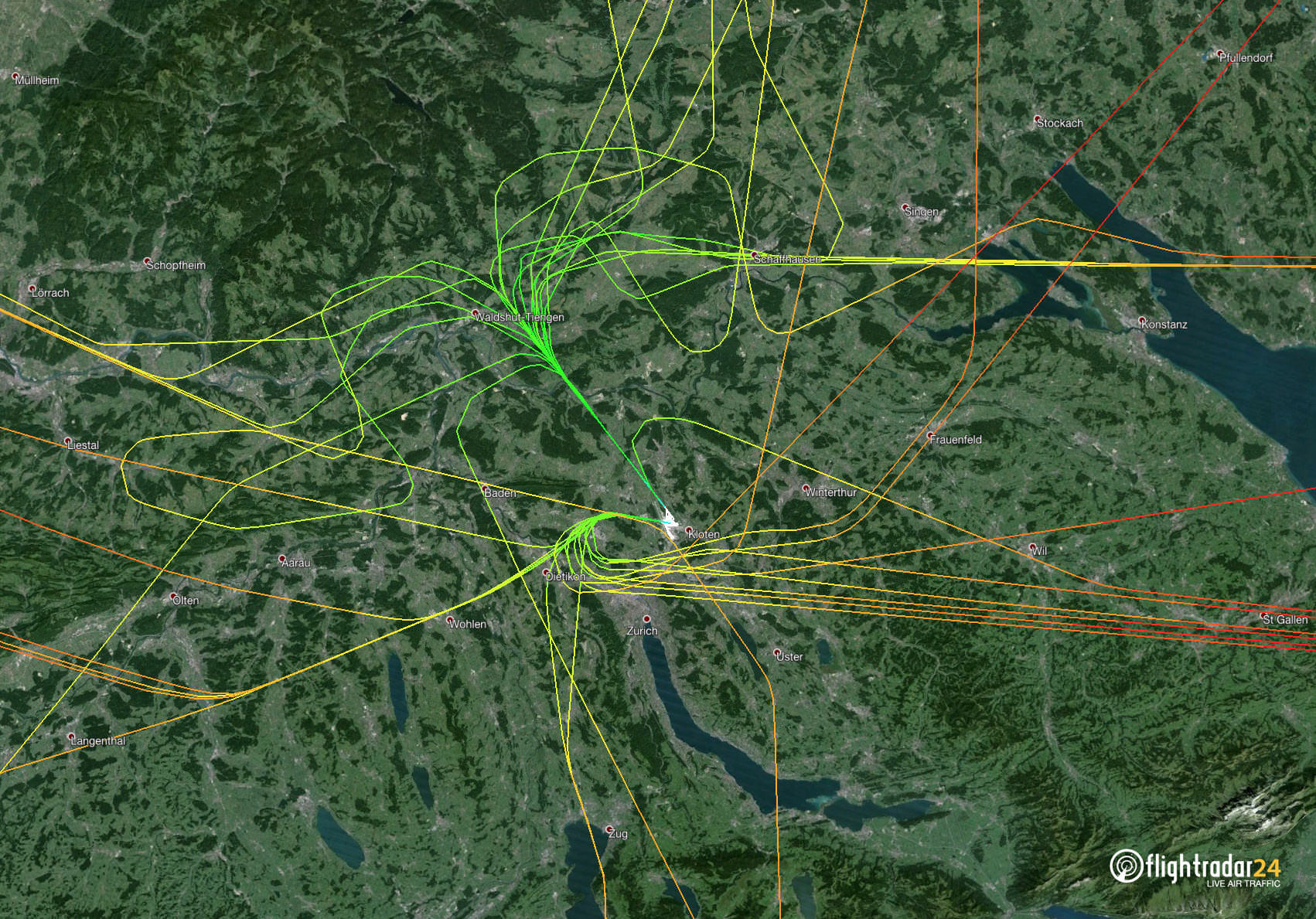 Close-up on C-FFCO flight paths near Zurich Airport