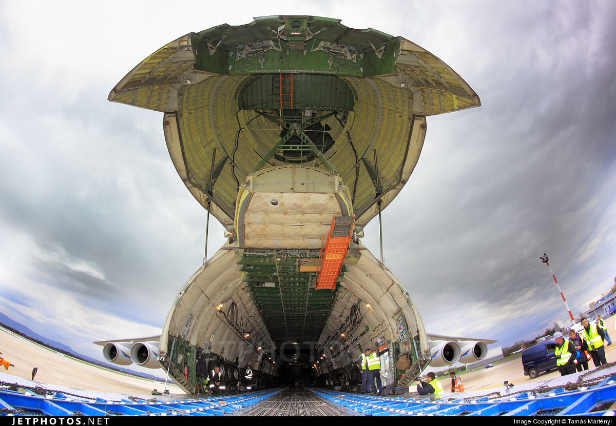 Looking up at the open cargo door and into the cargo area of the An-225