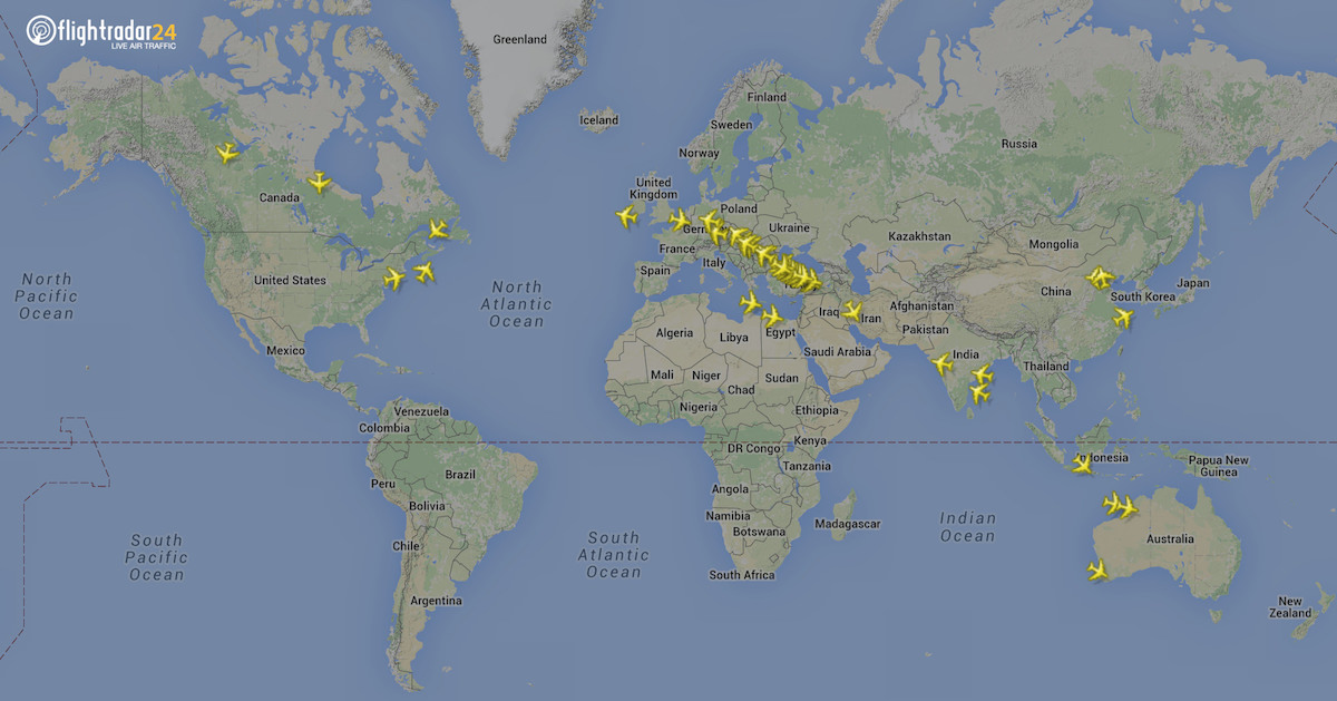 Emirates A380s in flight