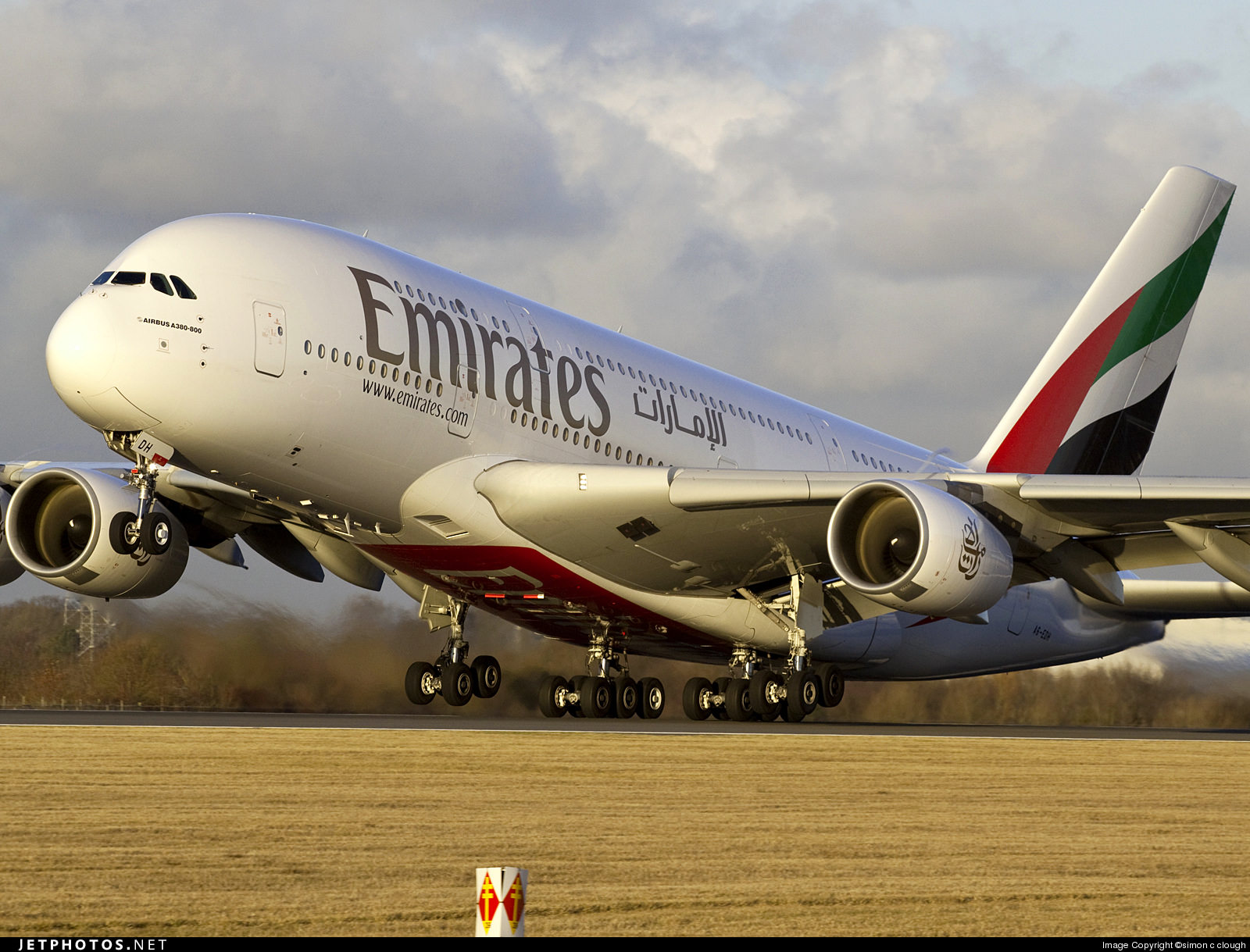 An Emirates A380 departing Manchester Airport