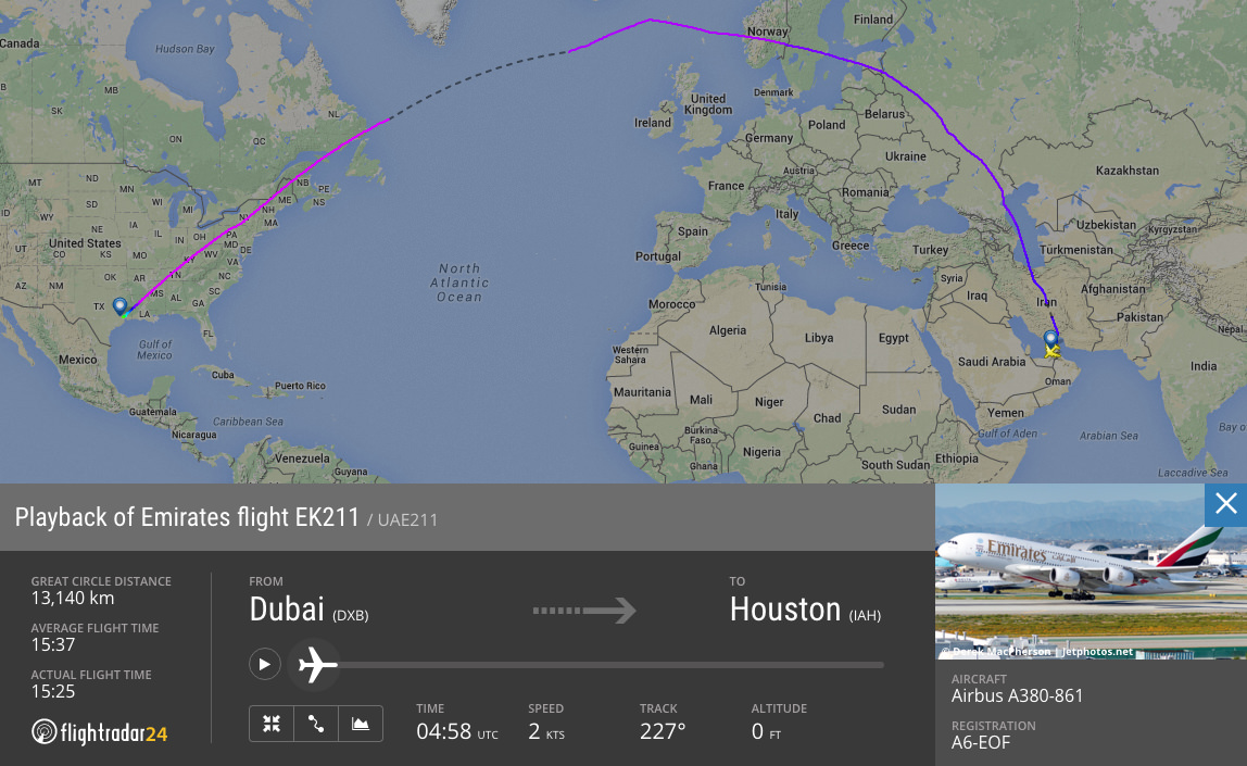 EK211—the longest flight (by time) by an Emirates A380 on 15 April.