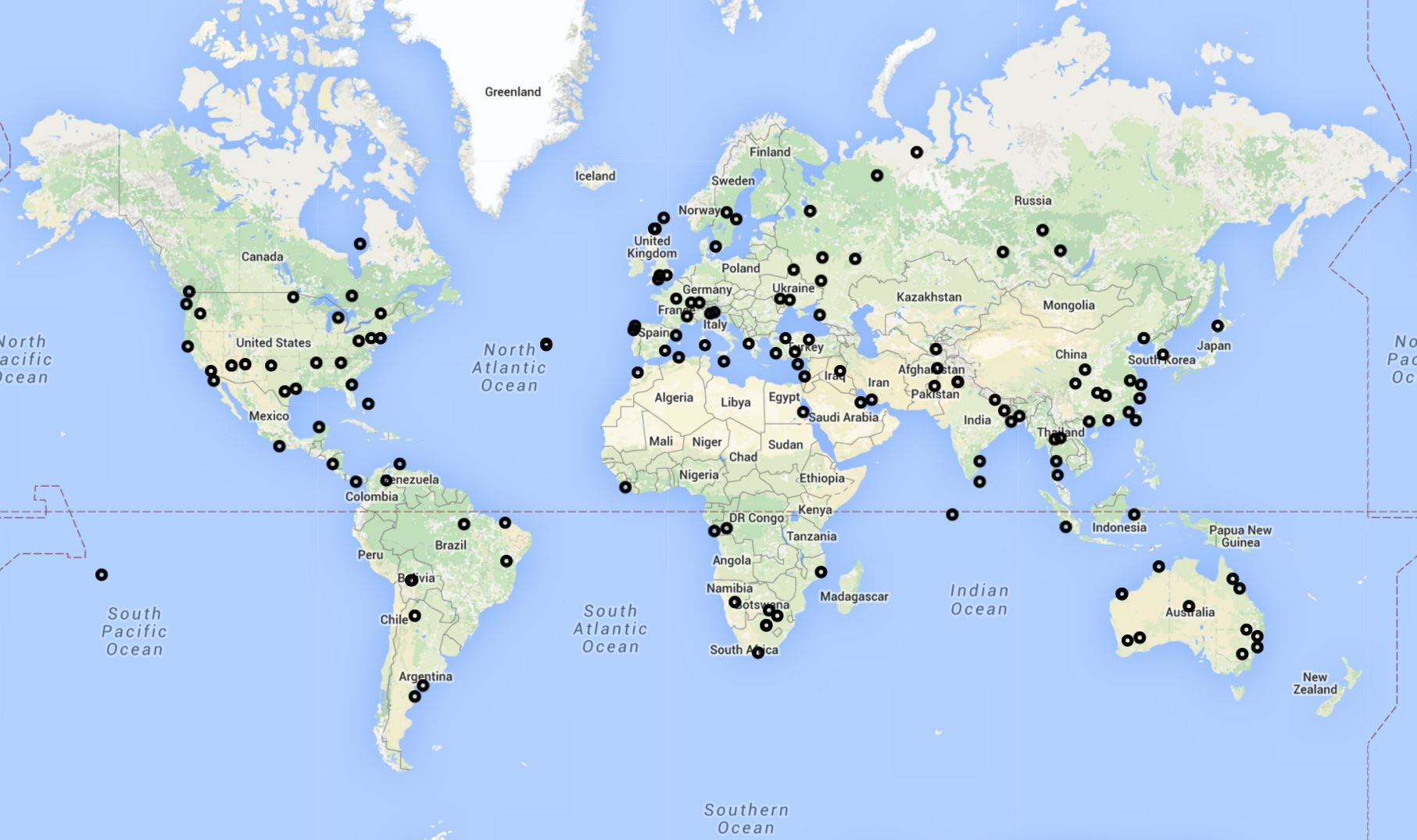 New Flightradar24 receivers activated during March 2016