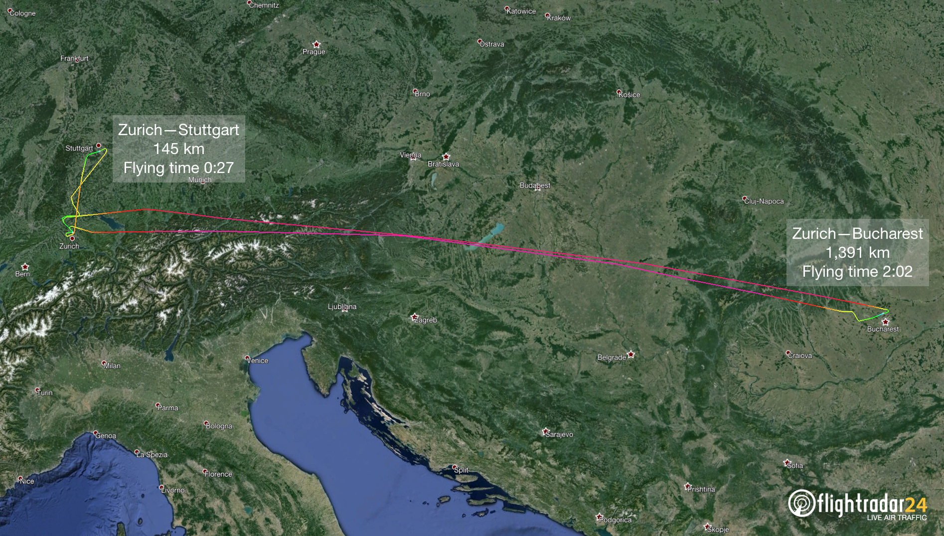 The shortest and longest proving flights to Stuttgart and Bucharest.