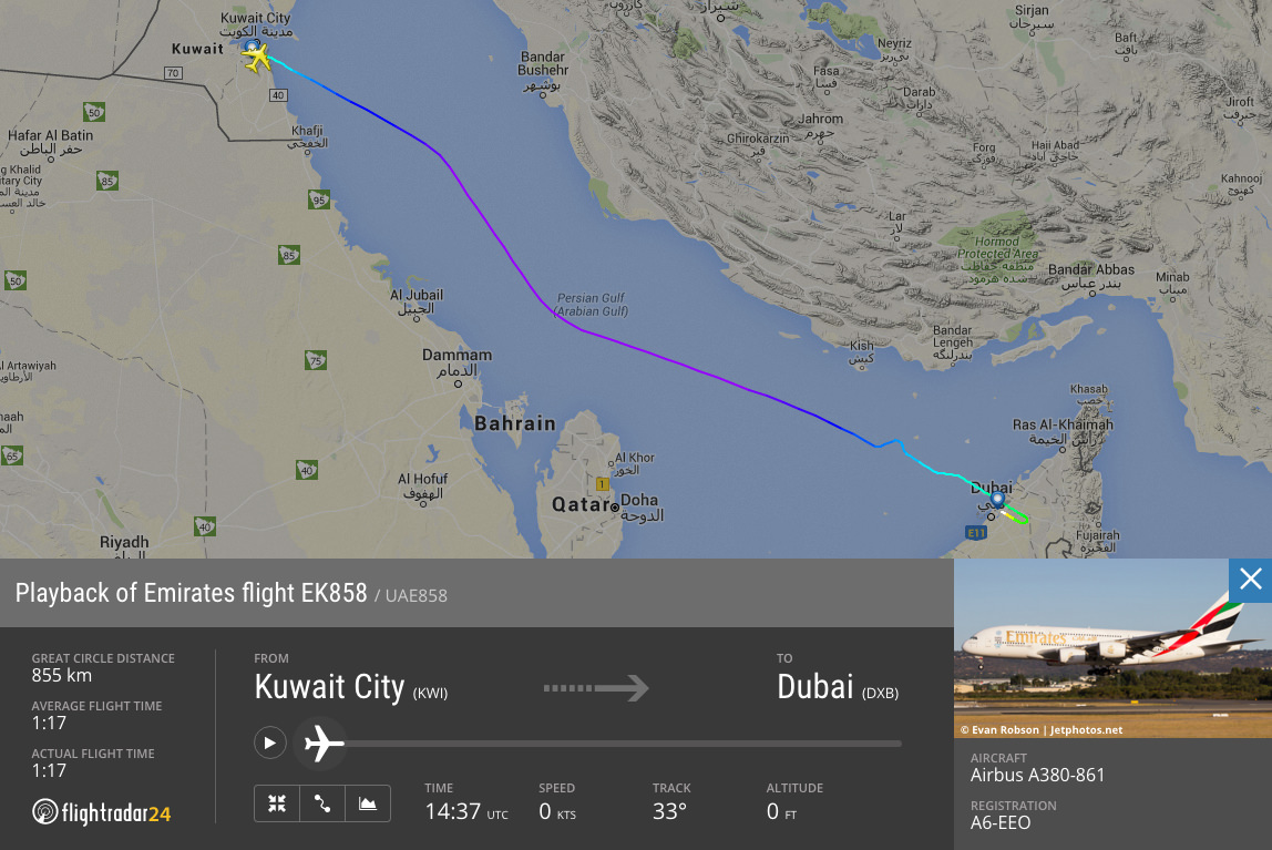 EK858—the shortest flight (time & distance) by an Emirates A380 on 15 April