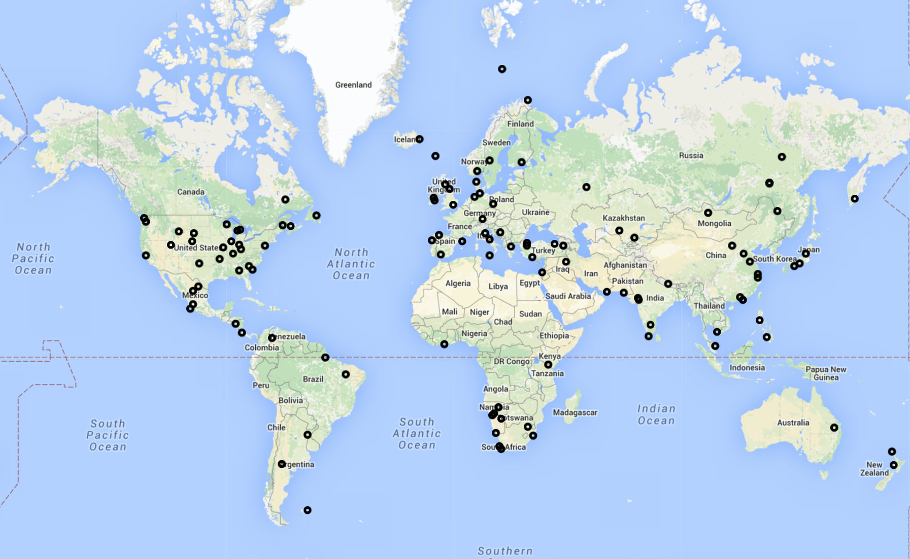 Map of New Flightradar24 receivers activated during April 2016