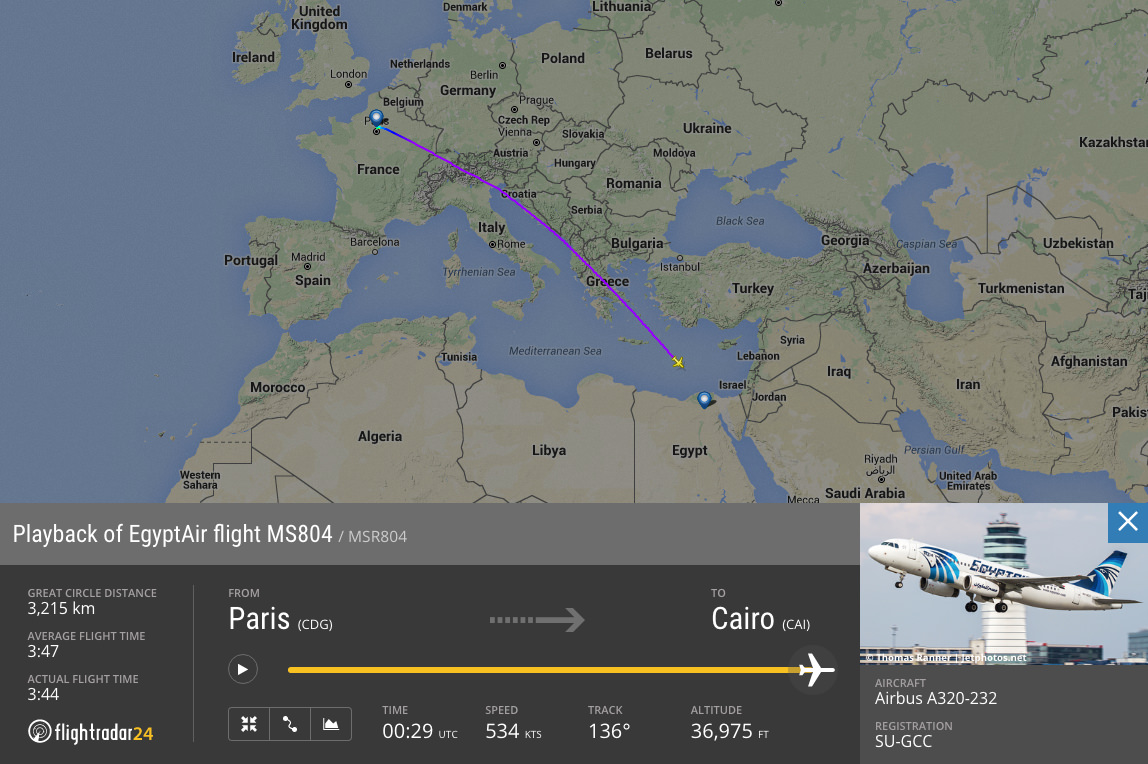 Playback and data from EgyptAir flight 804