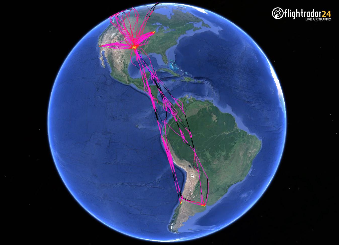 N800AN's flights throughout the Western Hemisphere