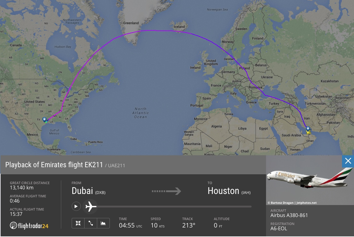 EK211 in full coverage from Dubai to Houston