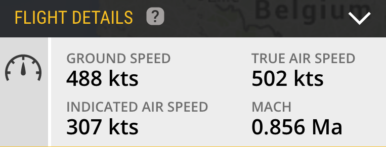 Extended Mode S speed data, including Indicated Airspeed, True Airspeed, and Mach.