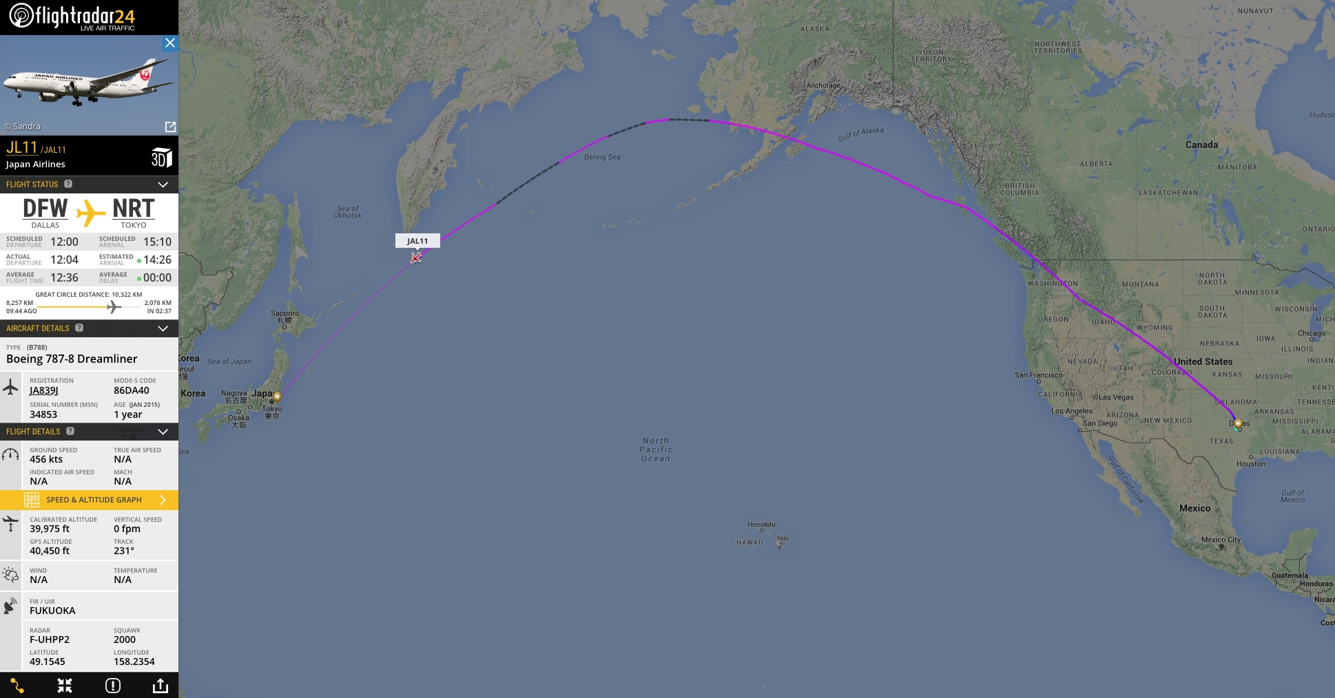 Estimated positions on this Japan Airlines flight from Dallas to Tokyo are noted by the black dashed lines