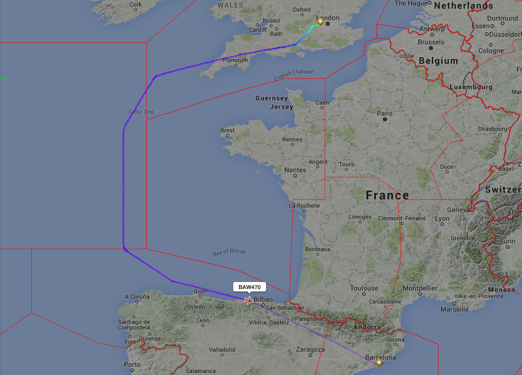 A British Airways flight avoiding French airspace due to an Air traffic controllers strike.