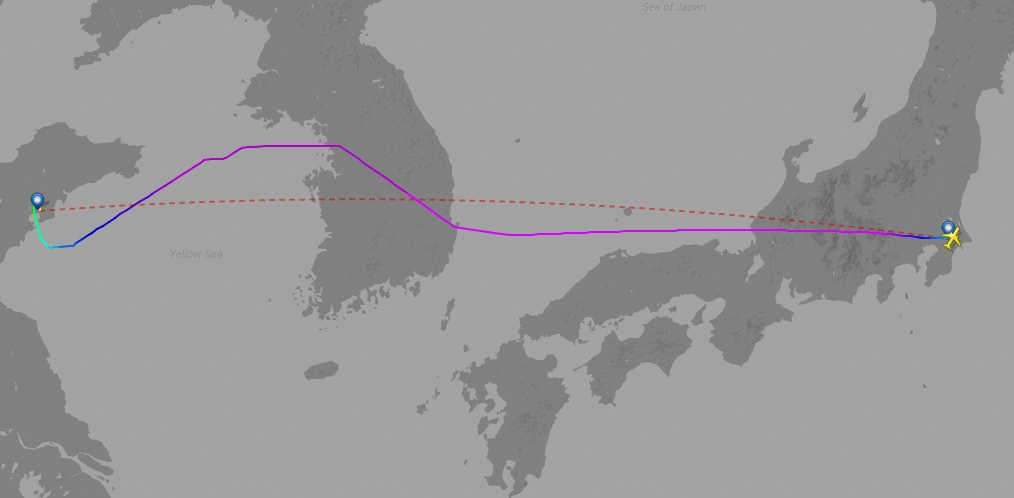 NH8541's actual flight path and Great Circle route