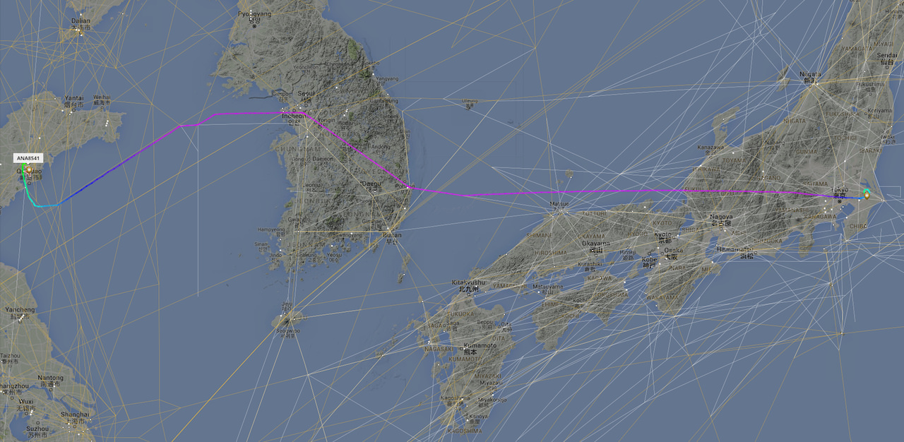High Altitude chart overlayed on NH8541's flight path
