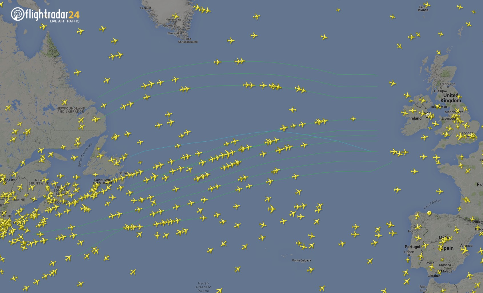 Flights following the North Atlantic Tracks