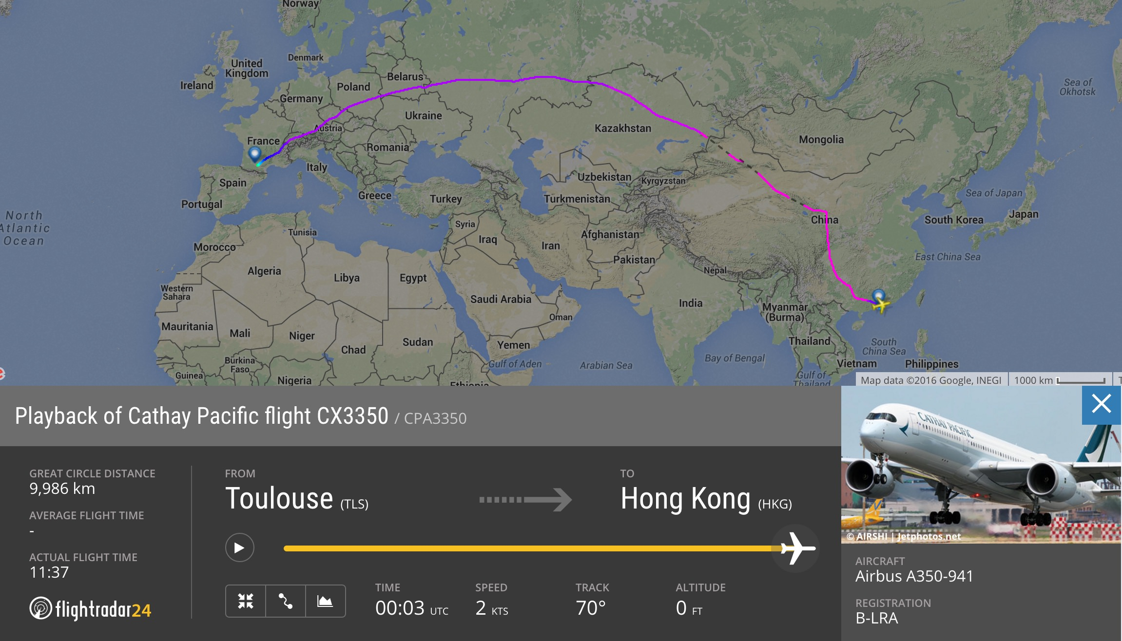 The first Cathay Pacific Airbus A350 delivery flight