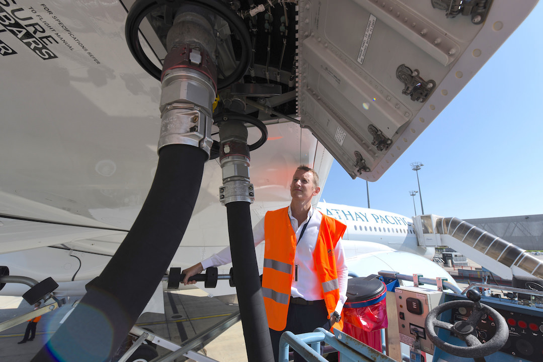 Fueling B-LRA with a 10% biofuel blend prior to its delivery flight from Toulouse to Hong Kong