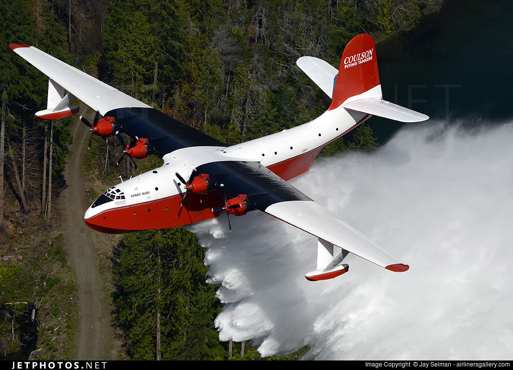 A highlight of the evening airshow, the Martin Mars water bomber