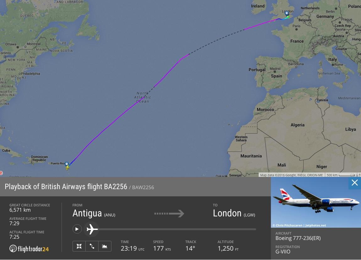 British Airways flight 2256 with standard terrestrial ADS-B coverage