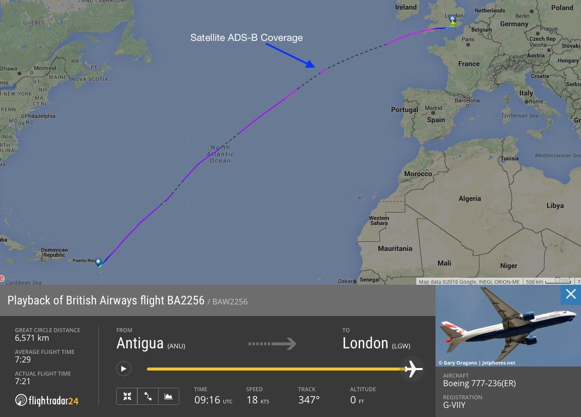 British Airways flight 2256 with satellite ADS-B coverage in the North Atlantic.