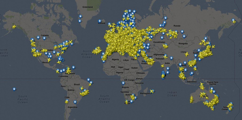 Flightradar24 coverage July 2012