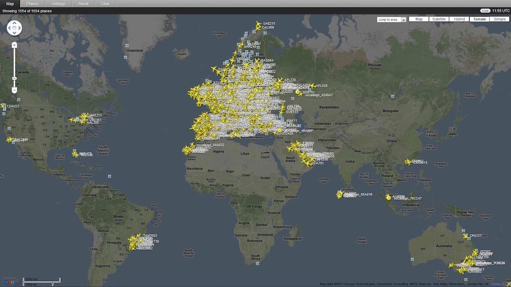 Flightradar24 coverage May 2011